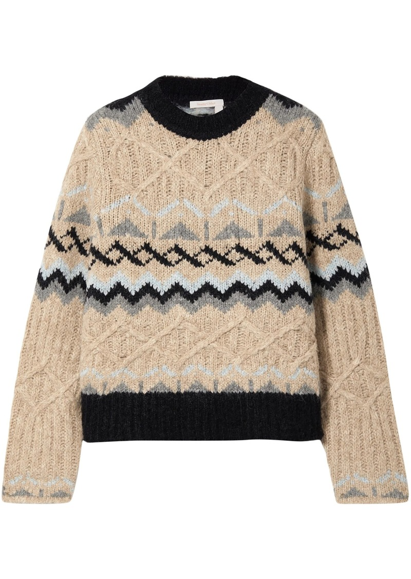 See By Chloé Woman Fair Isle Cable-knit Sweater Beige