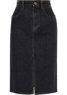 See By Chloé Woman Faux Leather-trimmed Denim Pencil Skirt Black