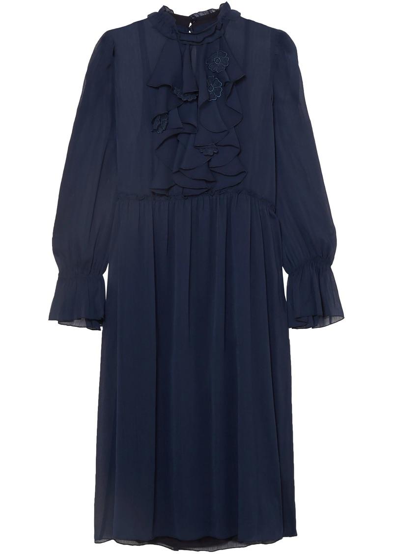 See By Chloé Woman Floral-appliquéd Ruffled Georgette Dress Navy