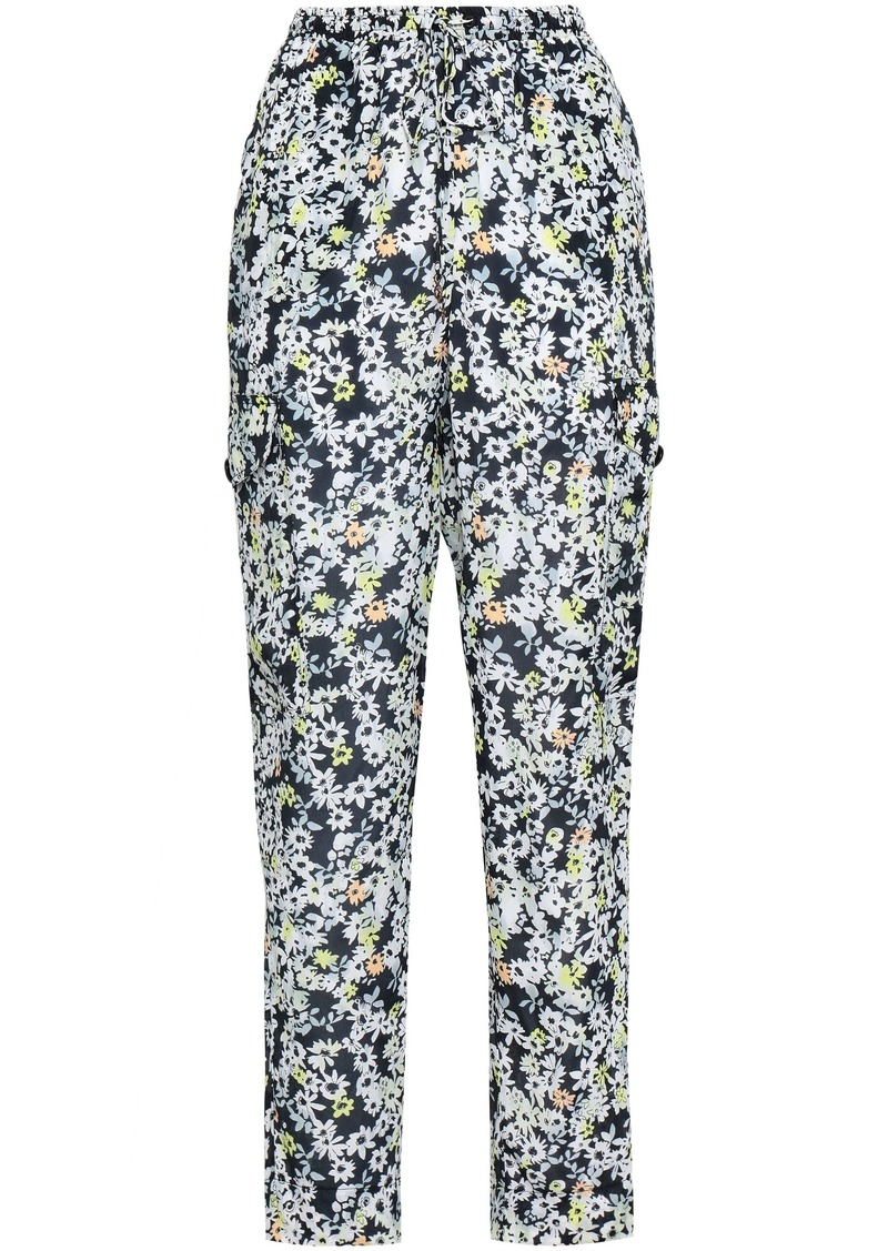 See By Chloé Woman Floral-print Crepe Tapered Pants Black