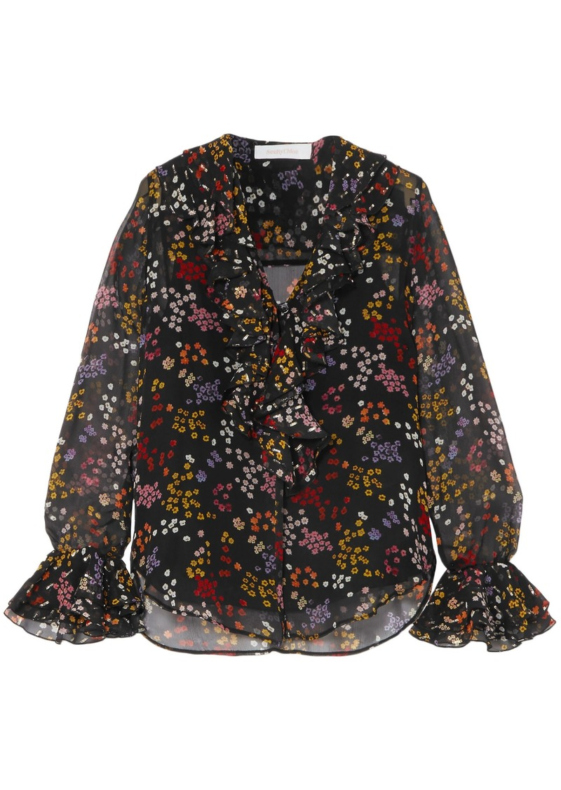 See By Chloé Woman Floral-print Metallic Fil Coupé Silk-georgette Blouse Black