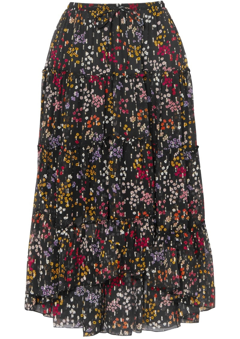 See By Chloé Woman Floral-print Metallic Fil Coupé Silk-georgette Midi Skirt Black