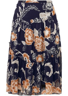 See By Chloé Woman Metallic Printed Silk And Cotton-blend Crepon Skirt Midnight Blue
