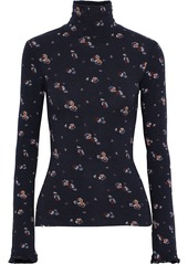 See By Chloé Woman Floral-print Stretch-jersey Turtleneck Top Navy