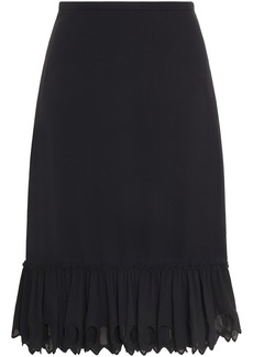 See By Chloé Woman Fluted Broderie Anglaise-trimmed Georgette Skirt Black