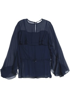 See By Chloé Woman Fluted Georgette Blouse Midnight Blue