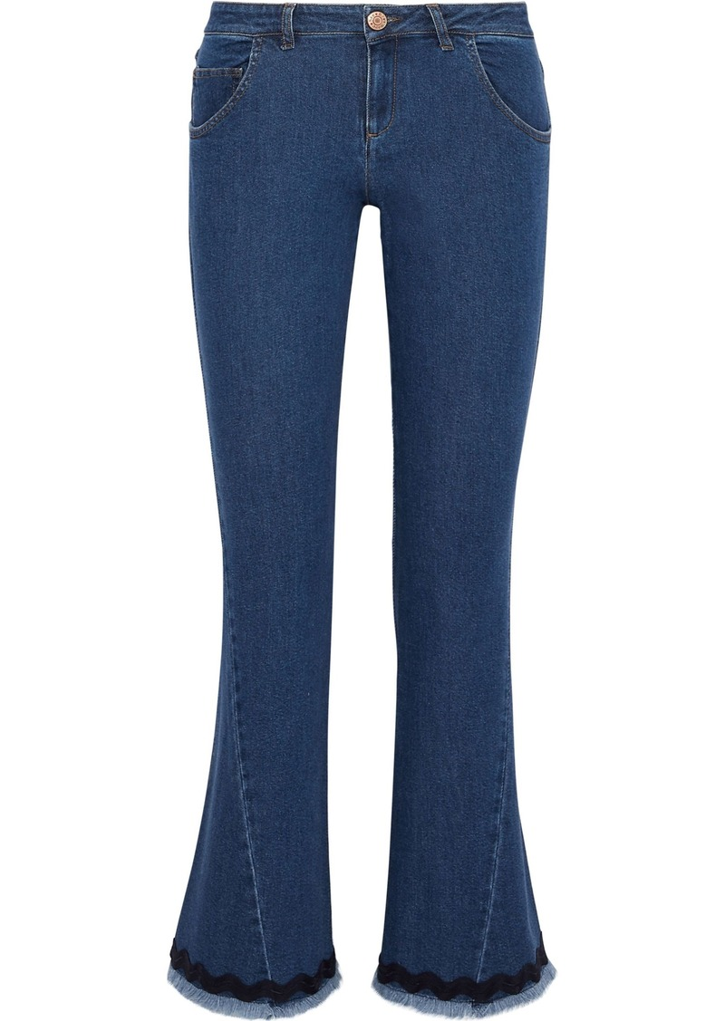 See By Chloé Woman Frayed Picot-trimmed Mid-rise Kick-flare Jeans Mid Denim