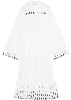 See By Chloé Woman Gathered Embroidered Cotton-poplin Midi Dress White