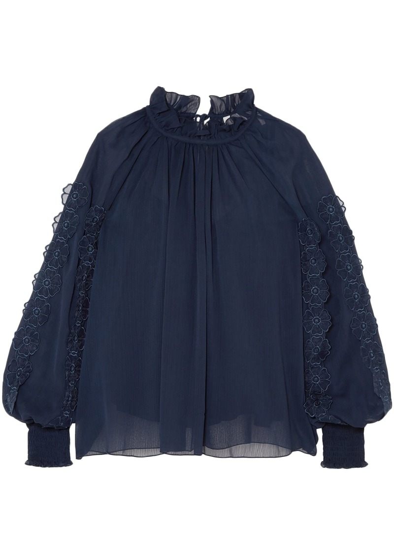 See By Chloé Woman Gathered Floral-appliquéd Georgette Blouse Navy
