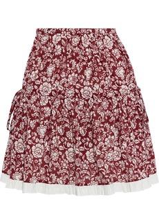 See By Chloé Woman Gathered Floral-print Cotton-jacquard Mini Skirt Brick
