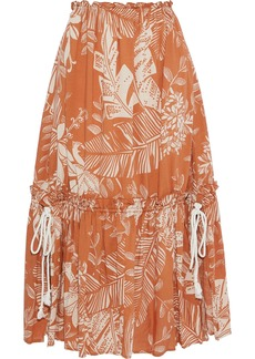 See By Chloé Woman Gathered Printed Cotton-blend Gauze Midi Skirt Brown