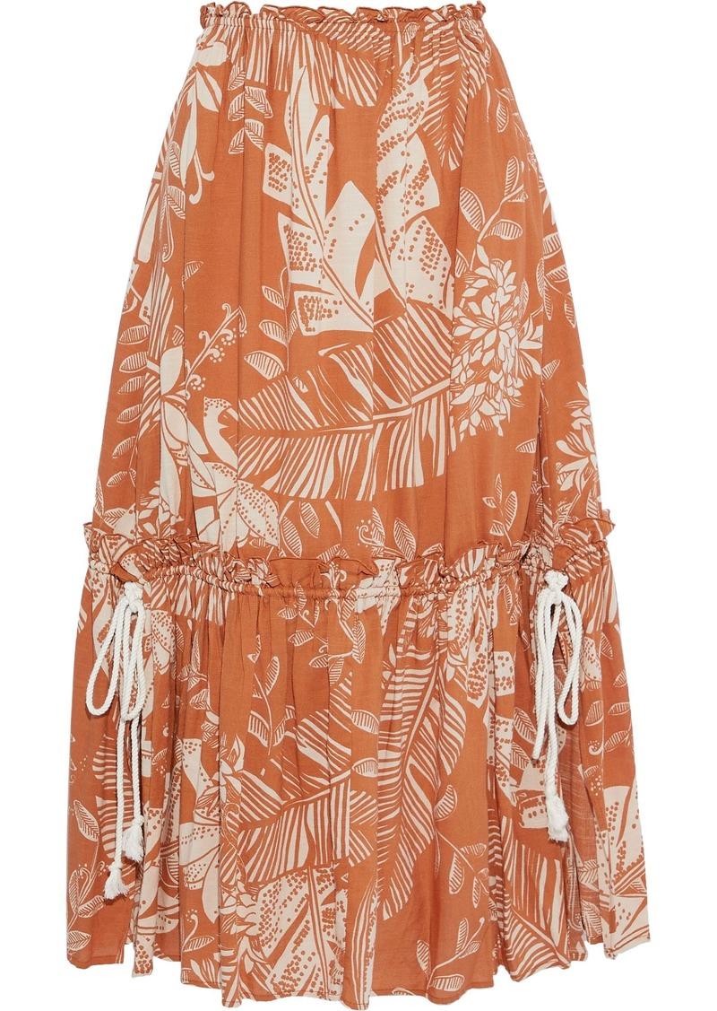 See By Chloé Woman Gathered Printed Cotton-blend Gauze Midi Skirt Brown