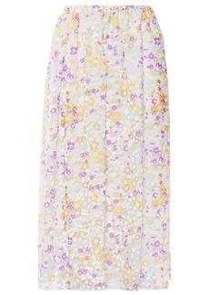 See By Chloé Woman Gathered Printed Devoré-silk Midi Skirt Multicolor