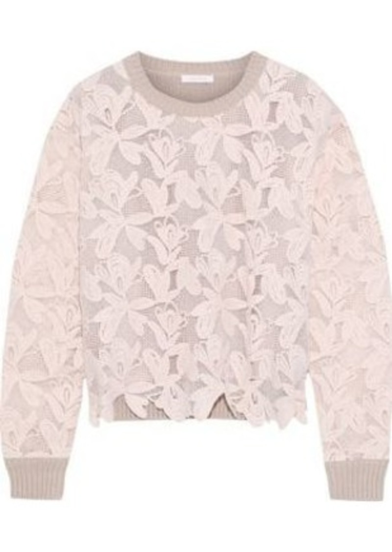 See By Chloé Woman Guipure Lace And Ribbed Cotton Sweater Pastel Pink