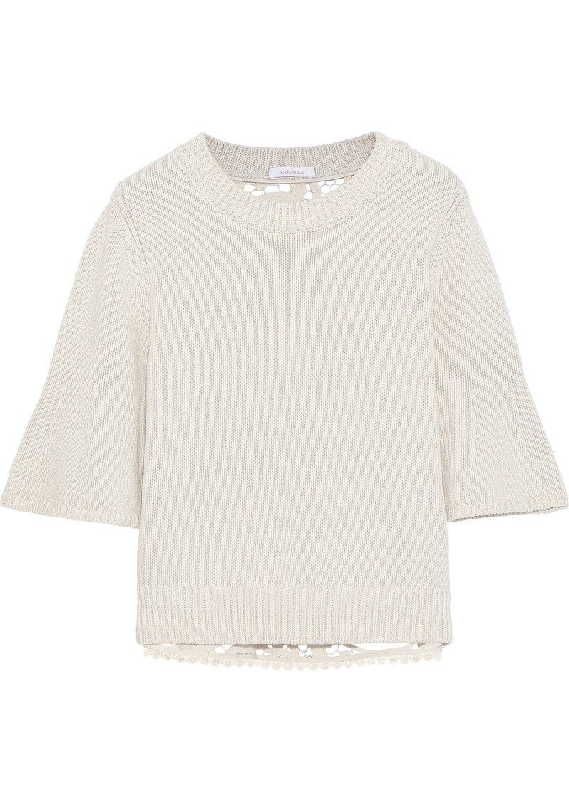 See By Chloé Woman Guipure Lace-paneled Cotton Sweater Off-white