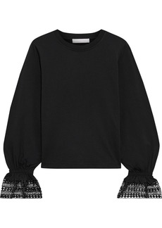 See By Chloé Woman Guipure Lace-trimmed Cotton-jersey Top Black