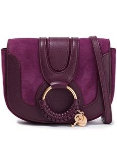 See By Chloé Woman Hana Suede-paneled Pebbled-leather Shoulder Bag Violet