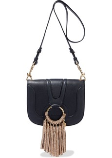 See By Chloé Woman Hana Small Tasseled Pebbled-leather Shoulder Bag Black