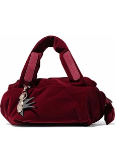 See By Chloé Woman Joyrider Medium Leather-appliquéd Velvet Shoulder Bag Burgundy