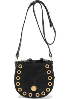 See By Chloé Woman Kriss Eyelet-embellished Pebbled-leather And Suede Shoulder Bag Black