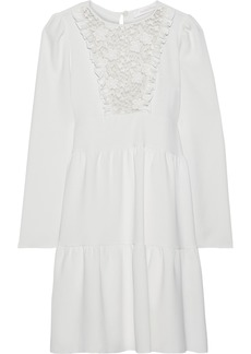 See By Chloé Woman Lace-paneled Ruffle-trimmed Crepe Mini Dress Off-white