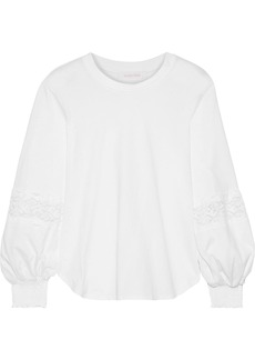 See By Chloé Woman Lace-trimmed Cotton-jersey Blouse White
