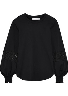See By Chloé Woman Lace-trimmed Cotton-jersey Blouse Black