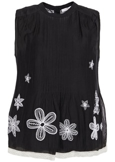 See By Chloé Woman Lace-trimmed Embroidered Cotton-blend Gauze Top Black