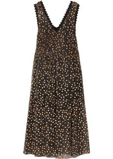 See By Chloé Woman Lace-trimmed Flocked Floral-print Silk-chiffon Midi Dress Black