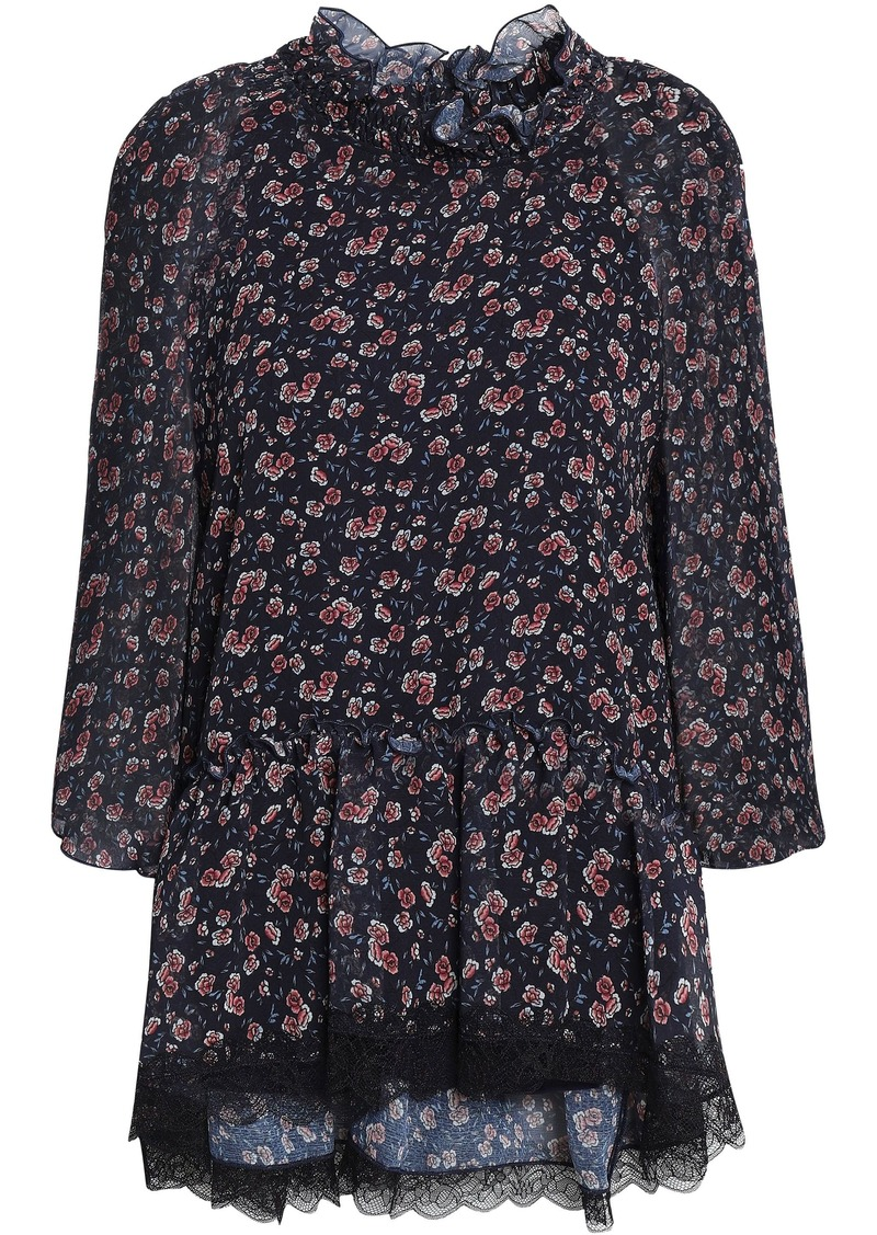 See By Chloé Woman Lace-trimmed Floral-print Georgette Blouse Midnight Blue