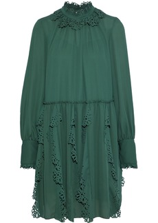 See By Chloé Woman Laser-cut Ruffled Crepe De Chine Mini Dress Emerald