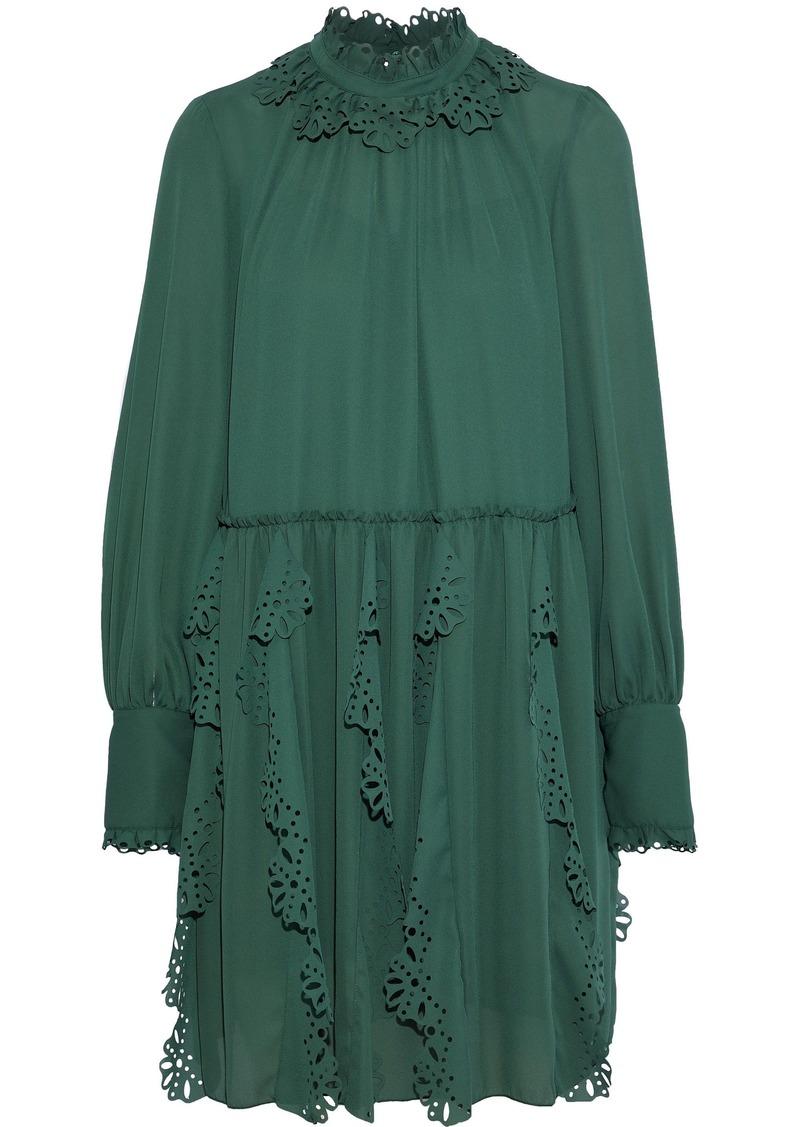 See By Chloé Woman Laser-cut Ruffled Crepe De Chine Mini Dress Emerald