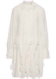 See By Chloé Woman Laser-cut Ruffled Crepe De Chine Mini Dress Off-white