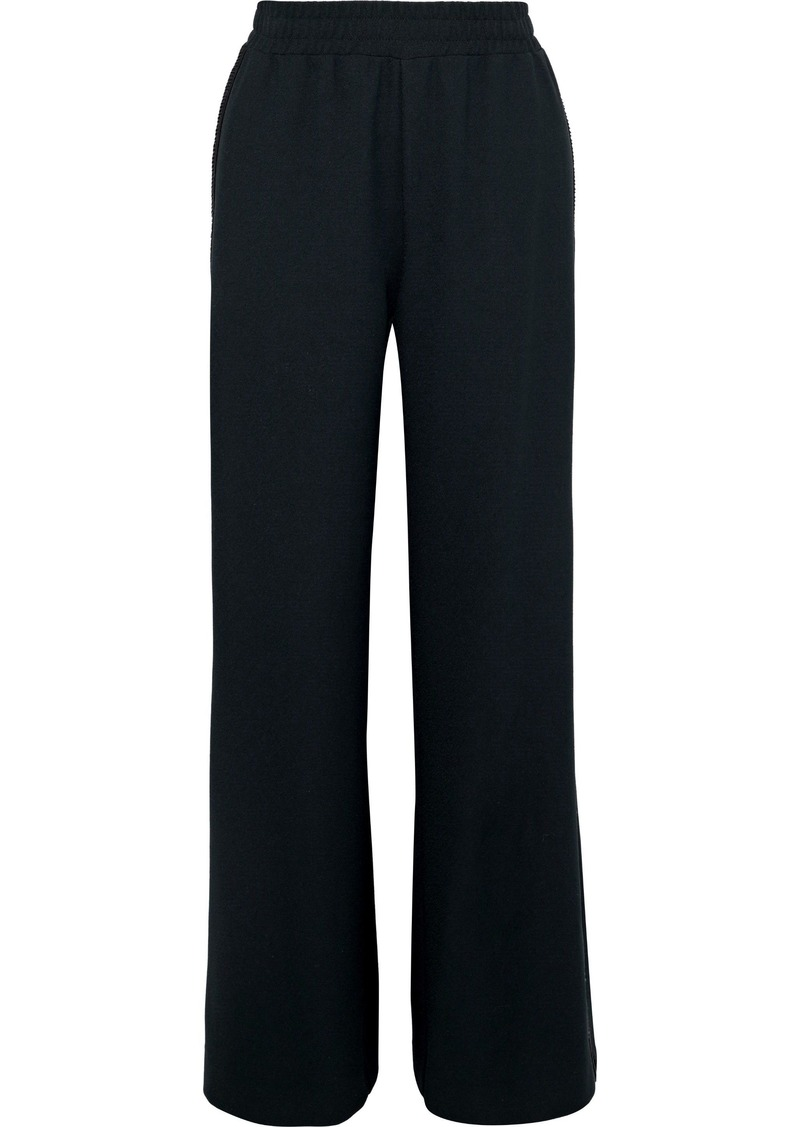See By Chloé Woman Lattice-trimmed Crepe Wide-leg Pants Black