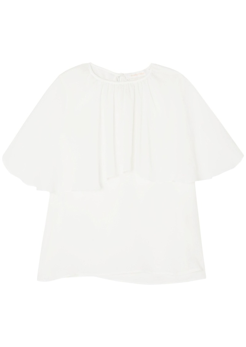 See By Chloé Woman Layered Crepe De Chine Top White