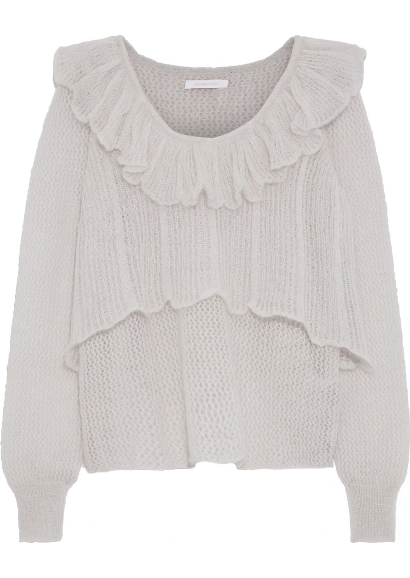 See By Chloé Woman Layered Crochet-knit Mohair-blend Sweater Light Gray