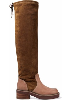 See By Chloé Woman Leather-paneled Suede Over-the-knee Boots Light Brown