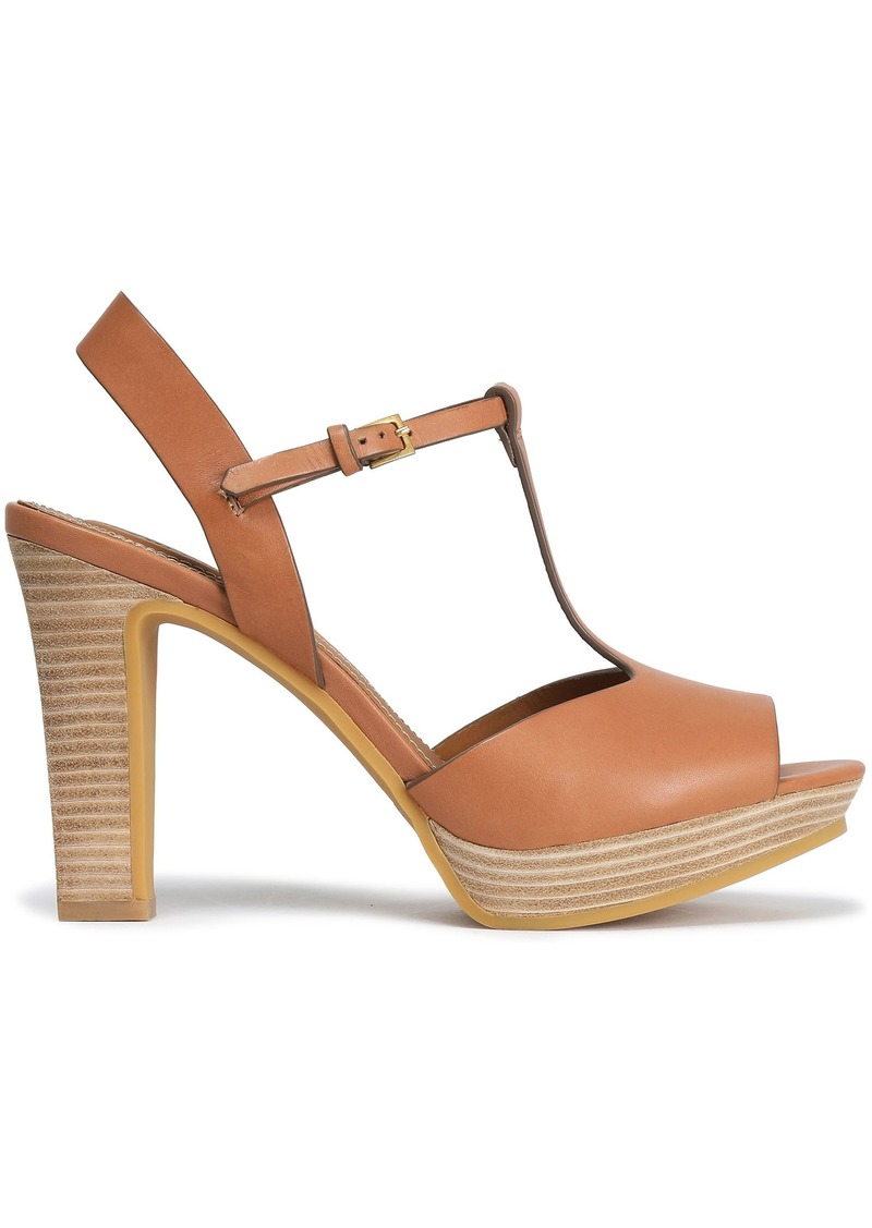 See By Chloé Woman Leather Platform Sandals Tan