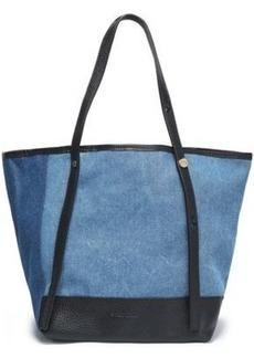 See By Chloé Woman Leather-trimmed Denim Tote Mid Denim