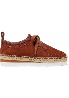 See By Chloé Woman Leather-trimmed Suede Epsadrille Sneakers Brown