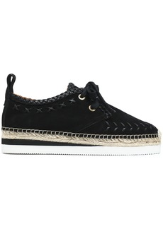 See By Chloé Woman Leather-trimmed Suede Platform Espadrille Sneakers Black
