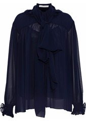 See By Chloé Woman Pussy-bow Ruffle-trimmed Gauze Blouse Navy
