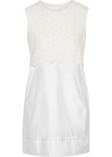 See By Chloé Woman Macramé Lace-paneled Cotton-poplin Mini Dress White