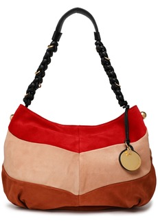 See By Chloé Woman Maddie Color-block Suede Shoulder Bag Peach
