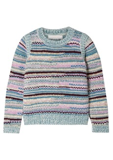 See By Chloé Woman Metallic Intarsia-knit Sweater Turquoise