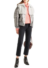 See By Chloé Woman Shearling-paneled Metallic Leather Jacket Silver