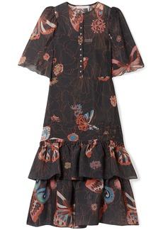 See By Chloé Woman Ruffled Printed Chiffon Midi Dress Black