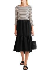 See By Chloé Woman Tie-back Striped Jersey And Seersucker Midi Dress Black