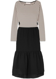 See By Chloé Woman Tie-back Striped Jersey And Seersucker Midi Dress Black