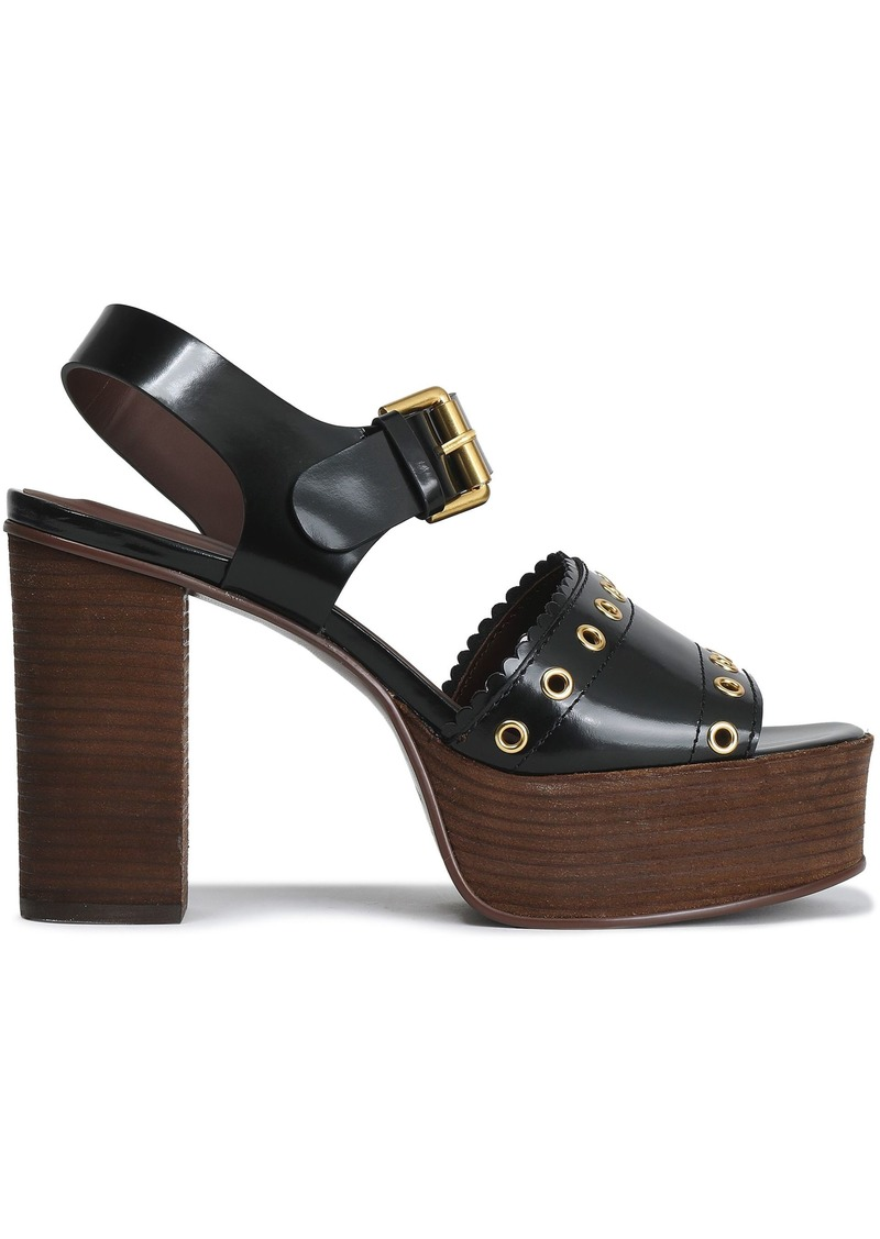 See By Chloé Woman Nora Eyelet-embellished Glossed-leather Platform Sandals Black